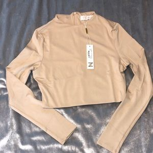 NWT- The Perfect Nude longsleeve Crop Top- Meshki